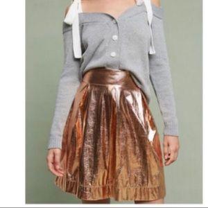 Anthropologie Moulinette Soeurs Rose Gold Skirt
